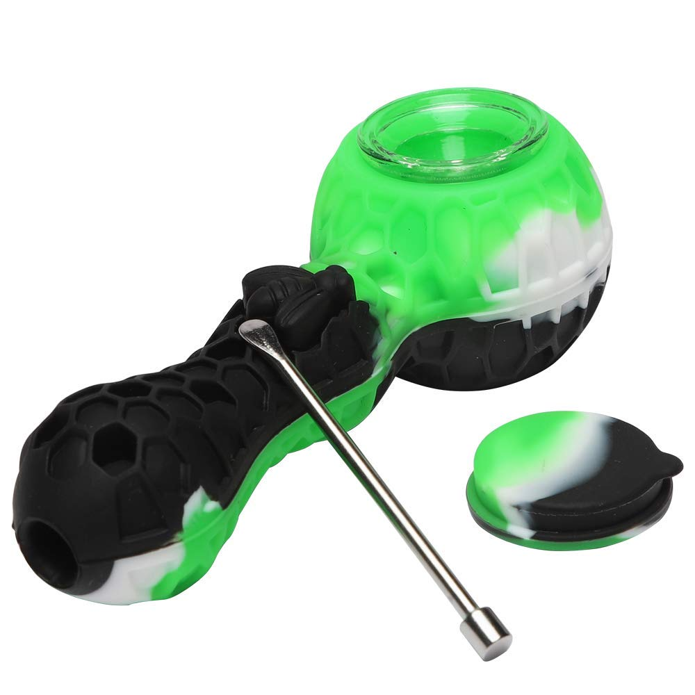 Unbreakable Indestructible Silicone Honey Straws with Clean Cover Free Decorative Bowls Inside Easy to Clean Black /& Green