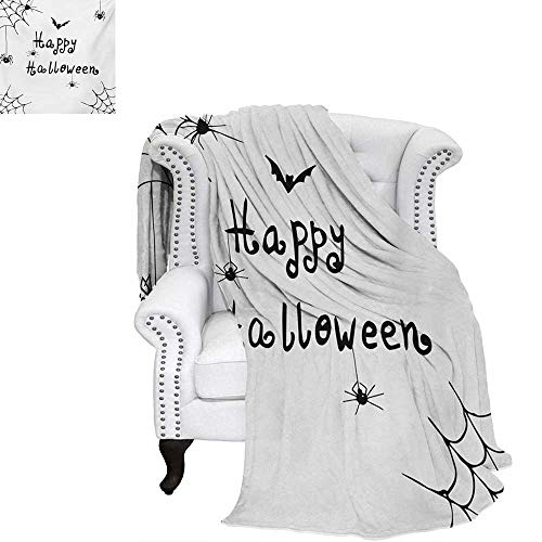 warmfamily Spider Web Velvet Plush Throw Blanket Happy Halloween Celebration Monochrome Hand Drawn Style Creepy Doodle Artwork Throw Blanket 62