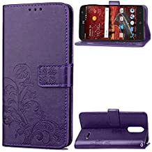 ZTE Grand X4 Case, Abtory Leaf Embossing Design Magentic PU Wallet Case Card Slots Stand Case for ZTE Grand X 4/Z956 KC1 with Wrist Strap Purple