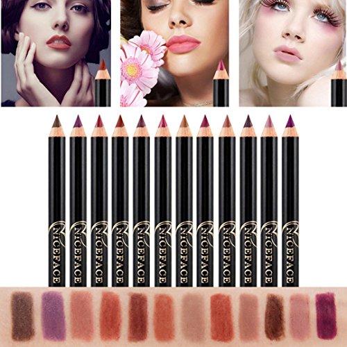 Putars Women Sexy 12PCS Lot Set 12 Colors Professional Lipliner Makeup Waterproof Lip Liner Pencil (Best Lip Liner For Overlining)