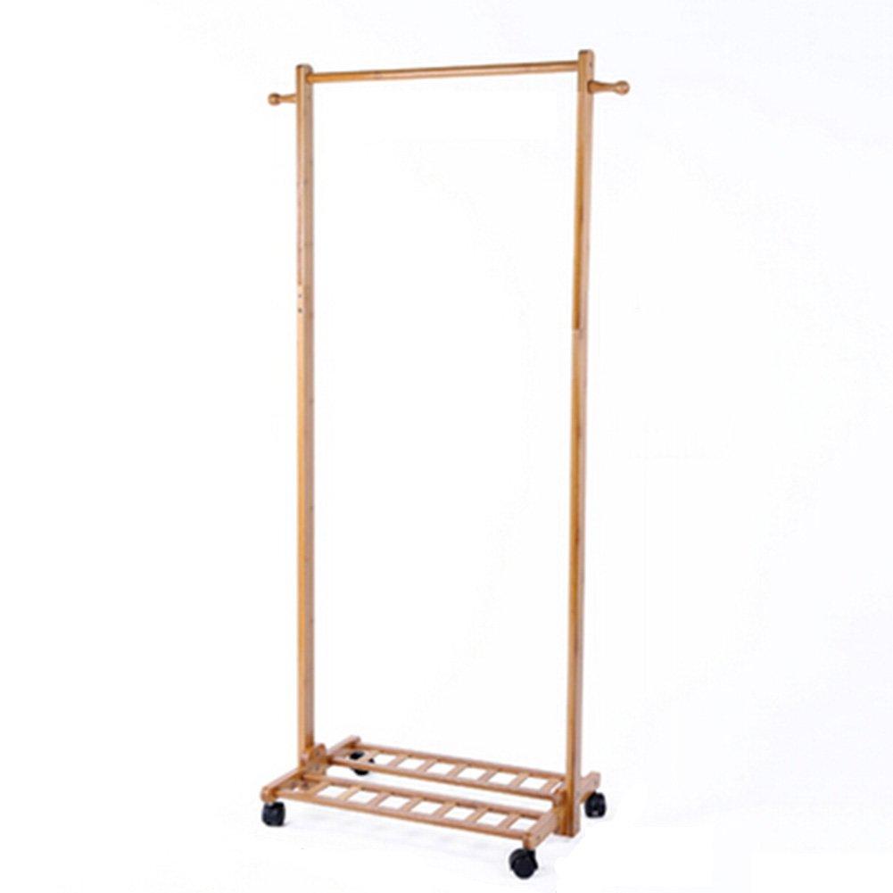 JIANFEI Floor Standing Coat Rack Hat Stand Hanger Multifunction Combination 2 Hooks 1 Layer Shelf Pulley Mobile, Bamboo