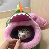 Small Animals Hamster Sleeping Bed Cave Plush Warm House Sofa Cage Accessories for Hedgehog Dwarf Mouse Rabbit Totoro Guinea pigs Squirrels (S, Green Crocs)