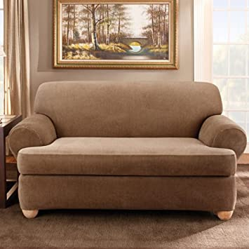 Sure Fit Stretch Stripe 2 Piece   Sofa Slipcover   Sand (SF37656)