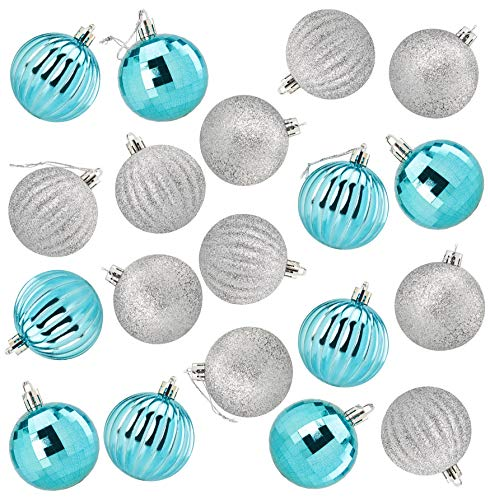 Juvale 36-Pack Christmas Tree Ornaments - Teal and Silver Shatterproof Medium Christmas Balls Decoration, Assorted 4-Finish Mirror, Glitter, Ribbed, Hanging Plastic Bauble Holiday Decor, 2.3 Inches (Christmas Baubles Teal)