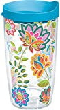 Tervis 1176072 Boho Floral Chic Tumbler with Wrap and Turquoise Lid 16oz, Clear