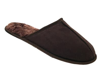 cbb6cd3f1e3 New Luxury Mens Gents Slippers Slip On Mules Faux Suede Leather Fur Lined  Soft Comfort Open Back Mules Size UK 6-12  Amazon.co.uk  Shoes   Bags