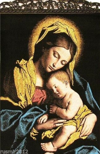 Madonna and Child Large Icon Banner with 3 crosses Tapestry Textile Art 17''