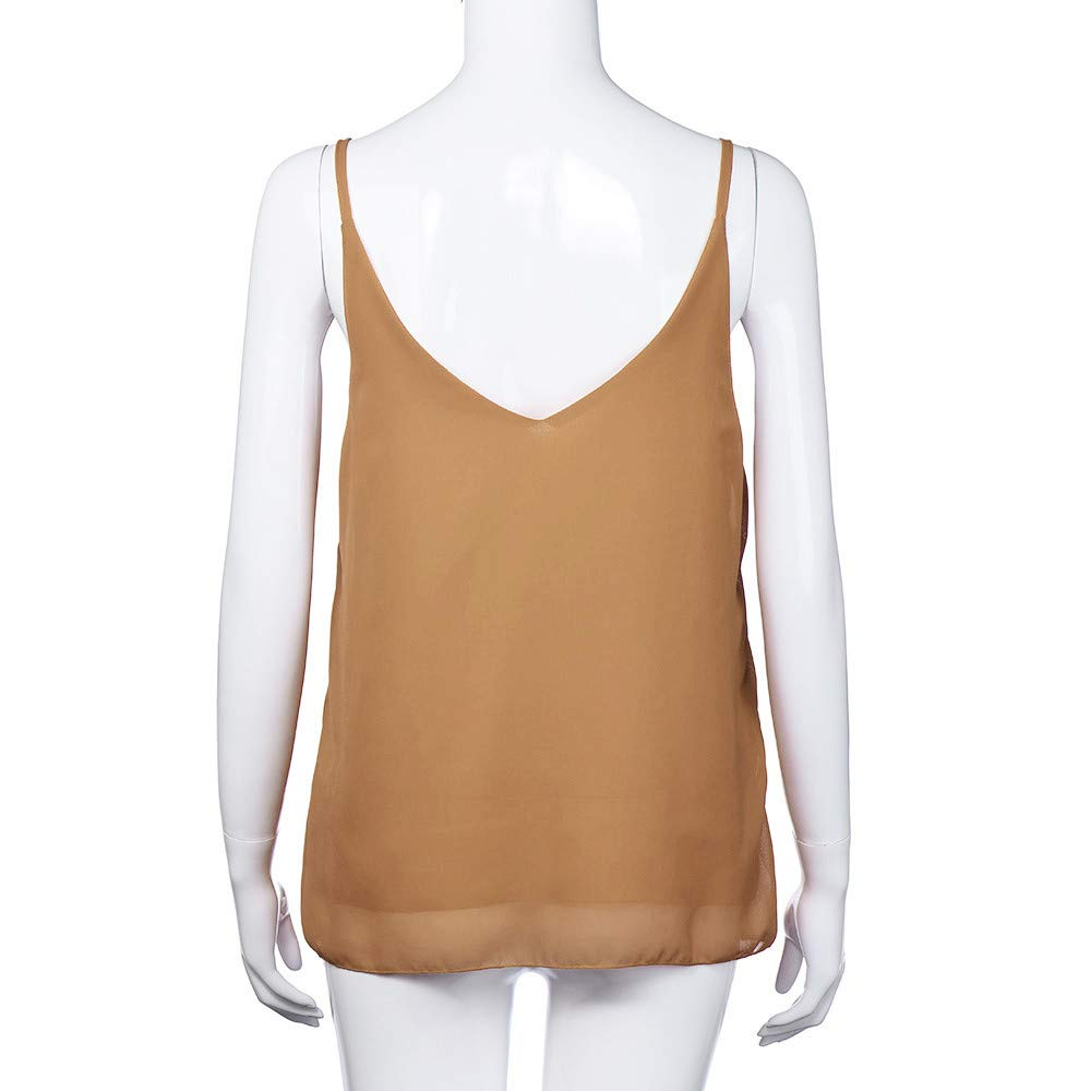 iLUGU Women V Neck Tank Top Chiffon Sleeveless Shirt Vest Cami T Shirt for Blouse Khaki by iLUGU (Image #2)
