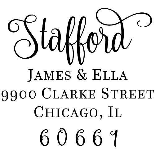 Stafford Square Address Stamp, Swirl Font Return Address Stamp ()