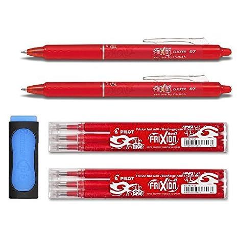 2Frixion Clicker 0.7+ Set di mine + gomma da cancellare come gratis. rot Pilot Pen
