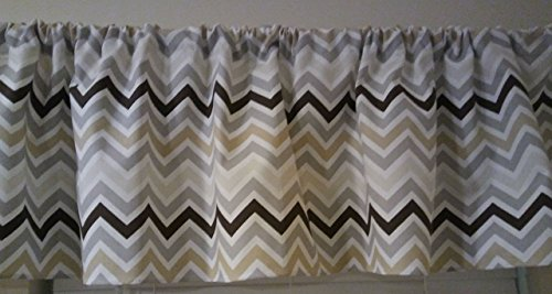 Multi color grey, gold, brown ivory Chevron Valance Curtain, window treatments, zig zag white, stripes, topper, kitchen curtain, kids, nursery, playroom, Boys, neutral (Ivory Stripes Curtain)