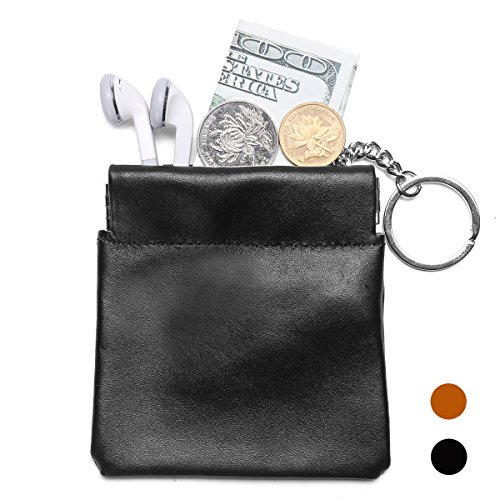 [Leathereal Full Grain Leather Squeeze Coin Pouch Coin Purse Change Holder Key Holder Change Wallet with Key Chain] (Leather Squeeze Pouch)