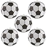 Kesoto 8 In Soccer Ball Paper Lantern Decoration Soccer Goal Birthday Party Decoration - Pack of 5
