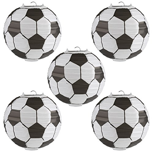 Kesoto 8 Inch Soccer Ball Paper Lantern Decoration Soccer Goal Birthday Party Decoration - Pack of 5
