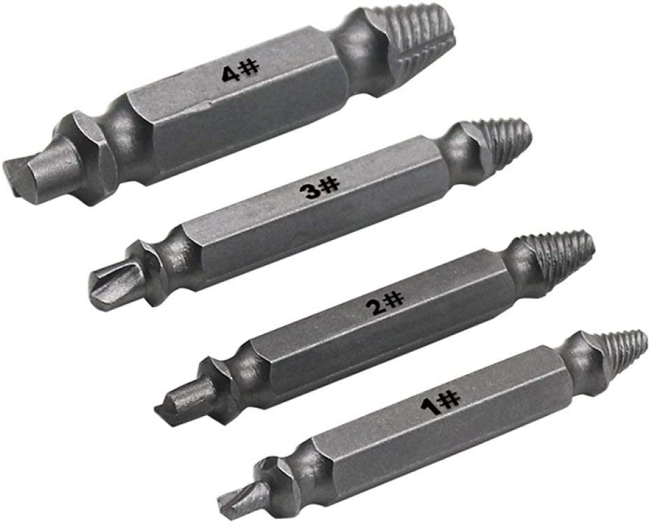 MJIKOO 4pcs Damaged Screw Extractor Drill Bits Guide Set Broken Speed Out Easy Out Bolt Stud Stripped Screw Remover Tool,Silver
