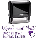 Purple Ink, Personalized Custom Self Inking Return Mail Address Stamp. Sophisticated Gift for Business, Real Estate Clients, Teachers and Family, Newlyweds or for Wedding Invitations