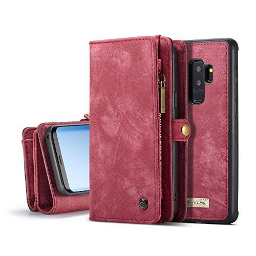 Samsung Galaxy S9 Plus Cordón de bolsillo de cremallera de gran capacidad de cuero Cartera de cuero caso con muñeca separable de 360 grados de protección Portatarjetas de embrague de lujo Caja para Sa rojo