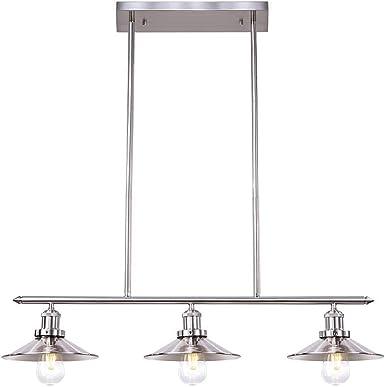 Wellmet Lustre Industriel Suspension à 3 Lampes, Moderne Lustre Cuisine au Nickel Brossé Luminaire Plafonnier Metal pour Salon Chambre Table de
