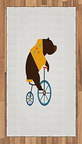 [Bicycle Area Rug by Ambesonne, Big Teddy Bear Icon of Circus Riding Bicycle with Hipster Costume Animal Image, Flat Woven Accent Rug for Living Room Bedroom Dining Room, 2.6 x 5 FT, Brown Yellow] (Female 80's Icons Costume Ideas)