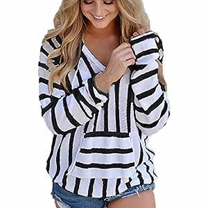 Women Tops ,IEason 2017 Hot Sale! Womens Stripe Loose Long Sleeve Jumper Sweater Ladies Casual Knitwear Tops (M, Black)