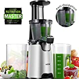 Aicok Juicer Slow Masticating Juicer Extractor, Cold Press Juicer Machine with 3 Strainers for Frozen Desserts, High Nutrient Vegetable Juice and Fruit Jam, Quiet Motor and Reverse Function