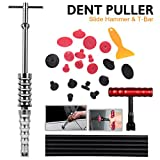 WHDZ Car Dent Repair Tools Dent Lifter Paintless Removal Kit PDR Puller Grip PRO Slide Hammer T-Bar Tool + 19pcs Glue Puller Tabs for Vehicle SUV Car Auto Body Hail Damage Remover