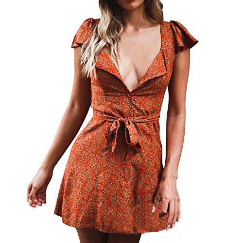 Women Deep V-Neck Dress,Sunyastor Fashion Vintage Floral Print Boho Slim Dresses Bandage Flare Sleeve Loose Short Mini -