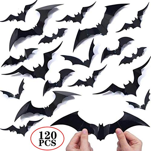 120PCS/4SIZE 3D Bats Sticker DIY Halloween Party Supplies reusable Decorative Scary Wall Decal for Home Window Clings
