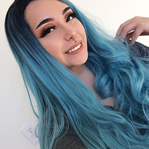 "Beauty : Jollyvogue Fashion Curly Ombre Blue Wig for Women's Colorful Natural Hairline Synthetic None Lace Wigs for Cosplay Party 22"" Long"