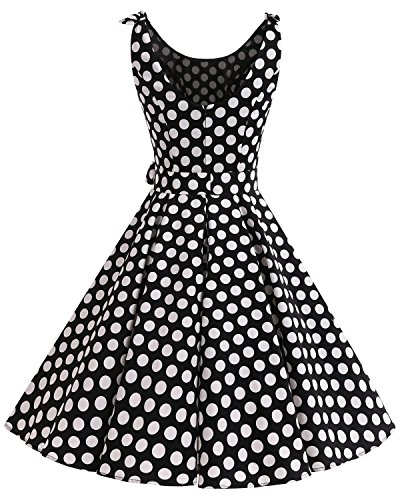 Cóctel 1950 Estampado Vestidos de con Bdot Vintage Rockabilly Retro Bbonlinedress Black Lazo White tgYqwExFw