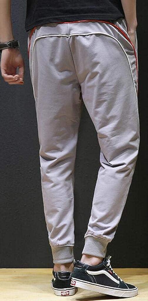 Jofemuho Mens Stripe Elastic Waist Ankle Drawstring Jogger Pants Trousers Casual Pants Trousers