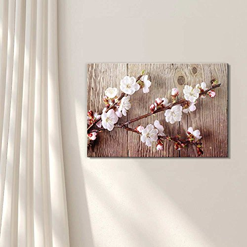 A Branch with Cherry Blossom on Vintage Wood Background Rustic ation