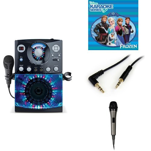 The Singing Machine SML-385W Disco Light Karaoke System (Black) with Disney's Frozen Karaoke CD, 3.5mm Stereo Adapter Bundle, and Extra Microphone