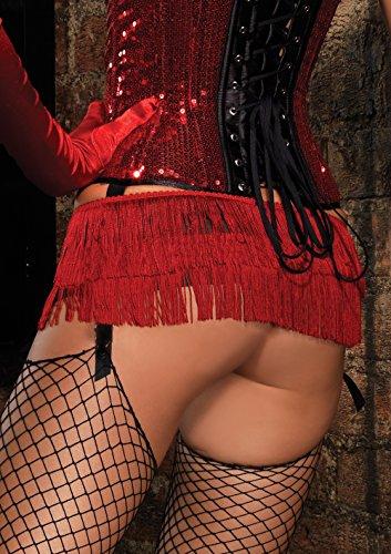 Leg Avenue Shimmy Fringe Mini Skirt Large Red, Large, Red - Leg Bustier Avenue