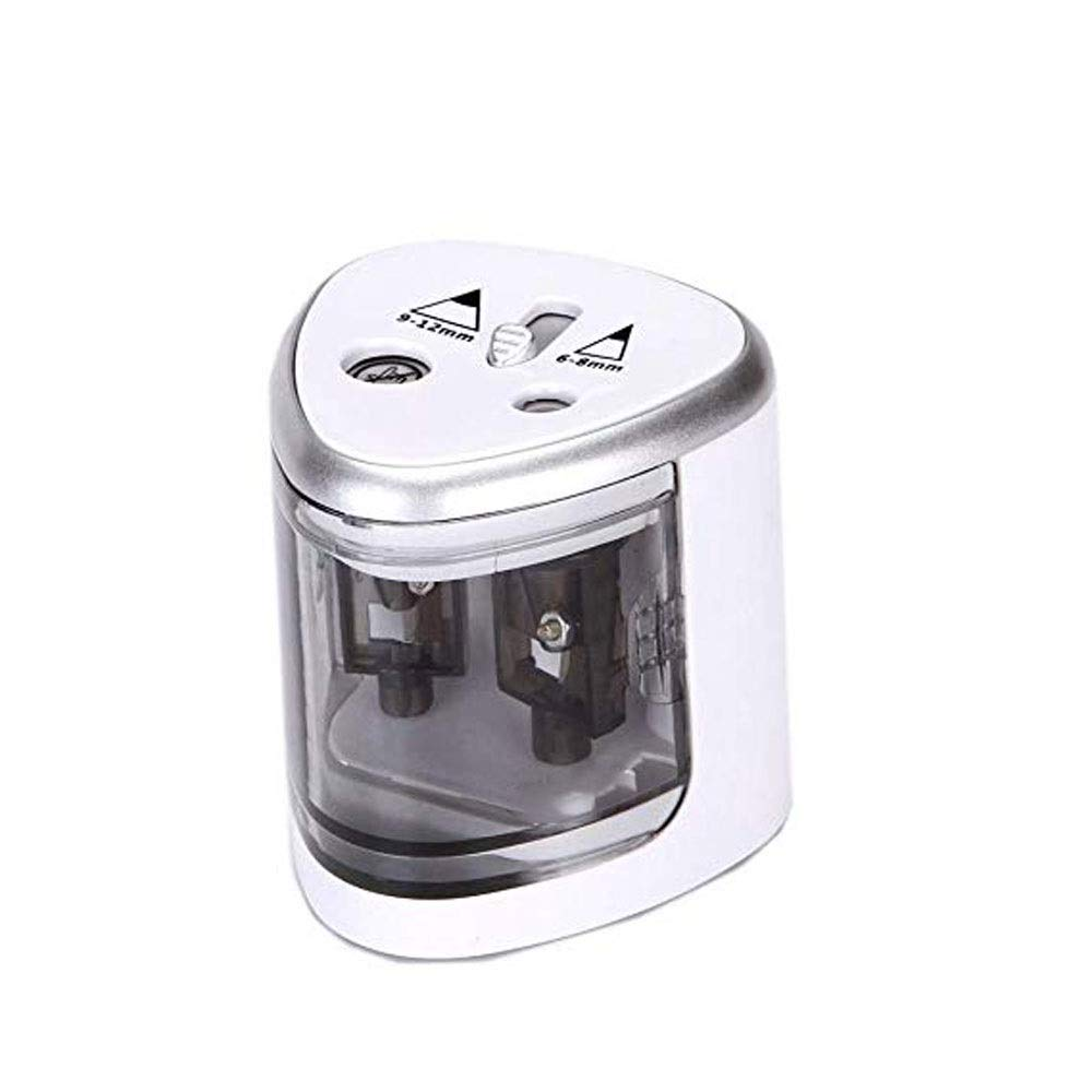 YWAWJ Electric Pencil Sharpeners Dual Holes Automatic Pencil Sharpener Battery Operated with 2 Replacement Blades Anti-Slip Auto Stop for Safety by YWAWJ
