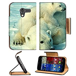 Animals Polar Bears Mother and Son Motorola Moto X Flip Case Stand Magnetic Cover Open Ports Customized Made to Order Support Ready Premium Deluxe Pu Leather 5 7/16 Inch (138mm) X 3 1/16 Inch (78mm) X 9/16 Inch (14mm) MSD Mobility cover Professional MotoX