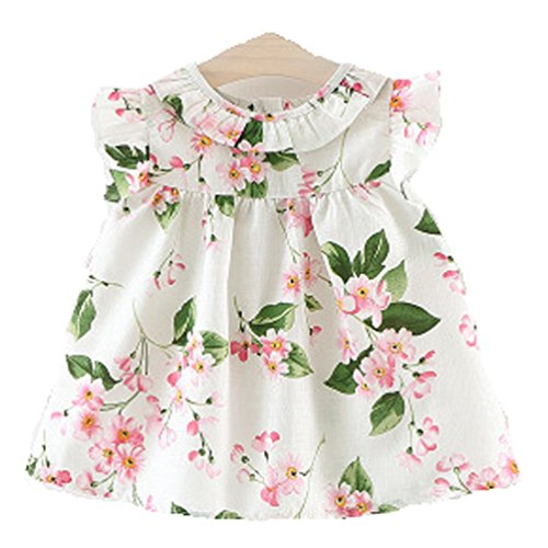 DL MYAN Toddle Girls Flower Dress (3T, White) (Toddler Fancy Dress)