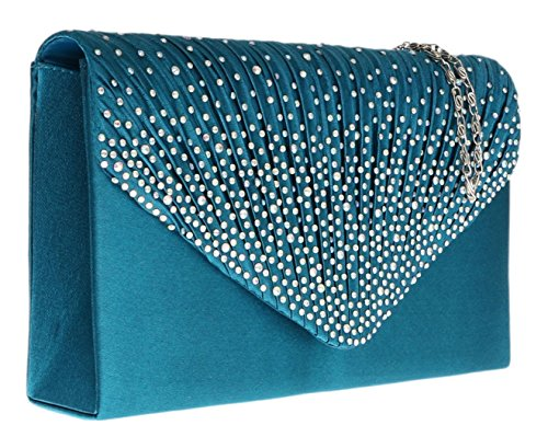 Girly Handbags - Cartera de mano para mujer W 21, H 14, D 5 cm (W 8.5, H 5.5, D 2 inches) - azul claro
