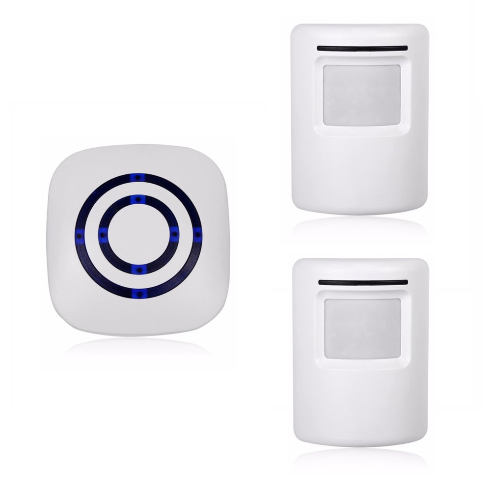 LED Indicators Wireless Home Security Driveway Alarm,Motion Sensor Alarm Outdoor Chime Kit with 1 Plug-in Receiver and 2 PIR Motion Sensor Detector Alert for Business Home Office Shop