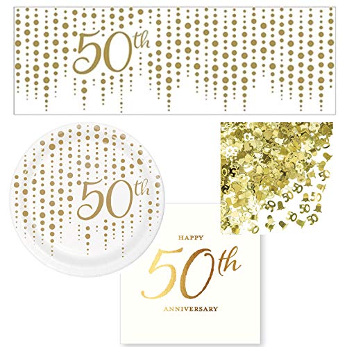 50th Wedding Anniversary Celebration Party Supplies Serves 16: Plates + Napkins + Banner + Confetti ()