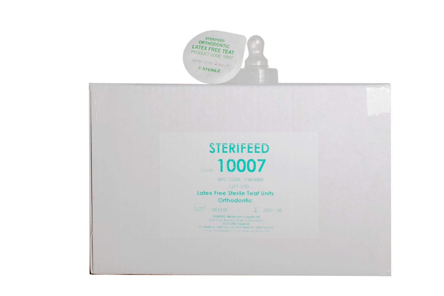 Sterifeed Orthodontic Sterile Baby Teats Pack of 100 Disposable Latex Free
