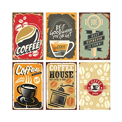 Set of 6, 11x17 Coffee Poster Decorations | Coffee Wall Art Signs Perfect for Kitchen Decor | Perfect Coffee Station Decorations for Coffee Lovers | Cool Sets of Coffee Posters for Home Decorations ()