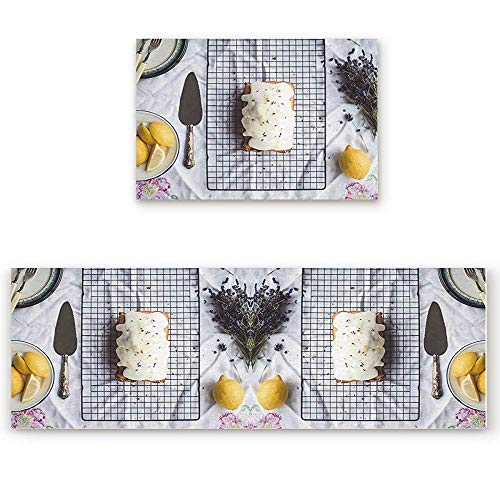 YGUII 2 Piece Kitchen Mat Cheese Bread Lemon On The Table Non-Slip Rubber Backing Washable Kitchen Rugs Doormat Runner Set, 16X23.6in (40x60cm) and 16X47in - Bread Lemon