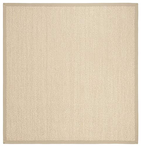 Safavieh NF152A-6SQ Natural Fiber Collection Premium Wool Square Area Rug, 6', Ivory/Beige Sisal