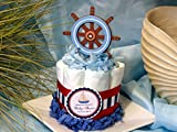 CAPTAINS WHEEL NAUTICAL Baby Shower Mini Diaper Cakes - Handmade by LMK Gifts