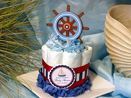 CAPTAINS WHEEL NAUTICAL Baby Shower Mini Diaper Cakes - Handmade by LMK Gifts by LMK Gifts