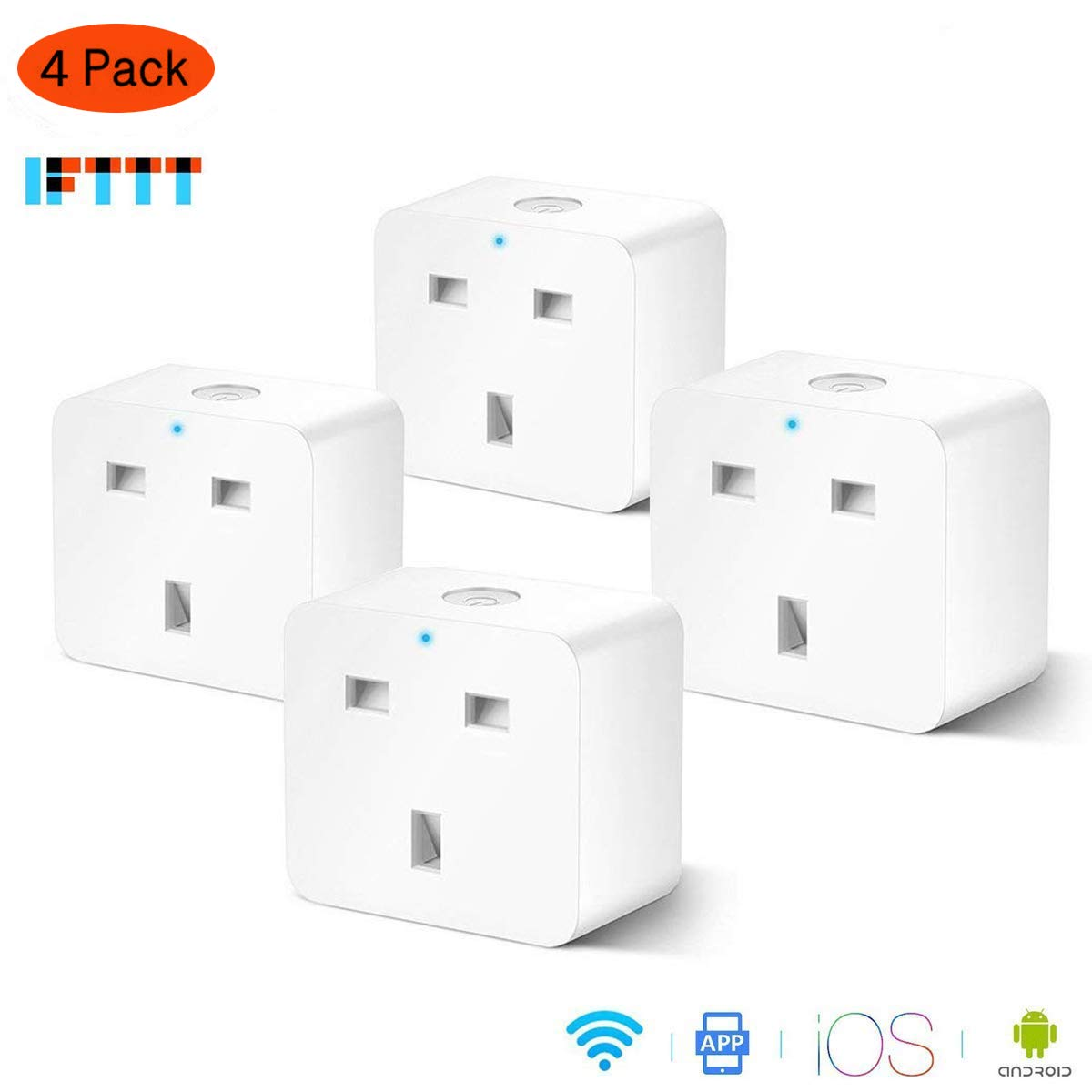 Smart Plug Socket WiFi MOKE, Switch Power Outlet with Timing Function, Compatible with  Echo Google Assistant by Voice Control, No Hub Required, Control Your Devices from Anywhere (4 Pack)