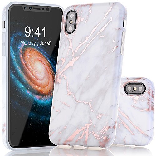 BAISRKE Shiny Rose Gold Marble Design Clear Bumper Matte TPU Soft Rubber Silicone Cover Phone Case Compatible with iPhone X iPhone Xs 5.8 inch - Light Grey