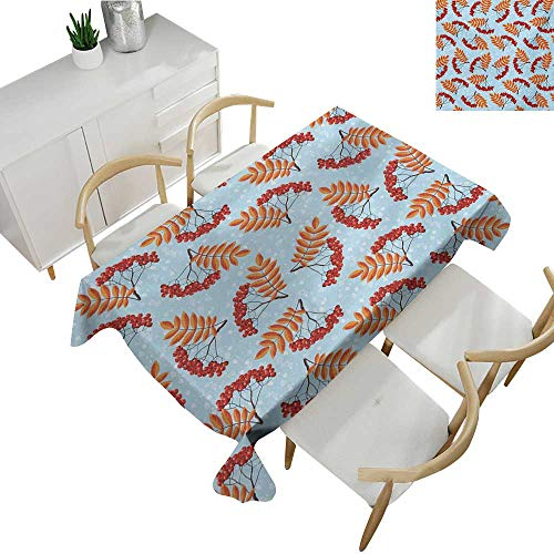 (Angoueleven Rowan,Table Covers,Abstract Backdrop with Dried Leaf and Bunch of Vivid Berries Mountain Ash,Rectangular Polyester Tablecloth 70