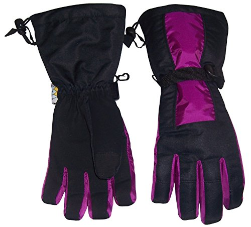 N'Ice Caps Kids 100 Gram Thinsulate Premier Extended Cuff Ski Snowboard Glove (10-12yrs, Neon Purple/Black)